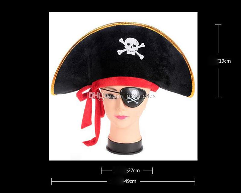 Caribbean Pirate Hat Skull Pirate Caps Halloween Party Cosplay Accessories Costume Fancy Dress Prop
