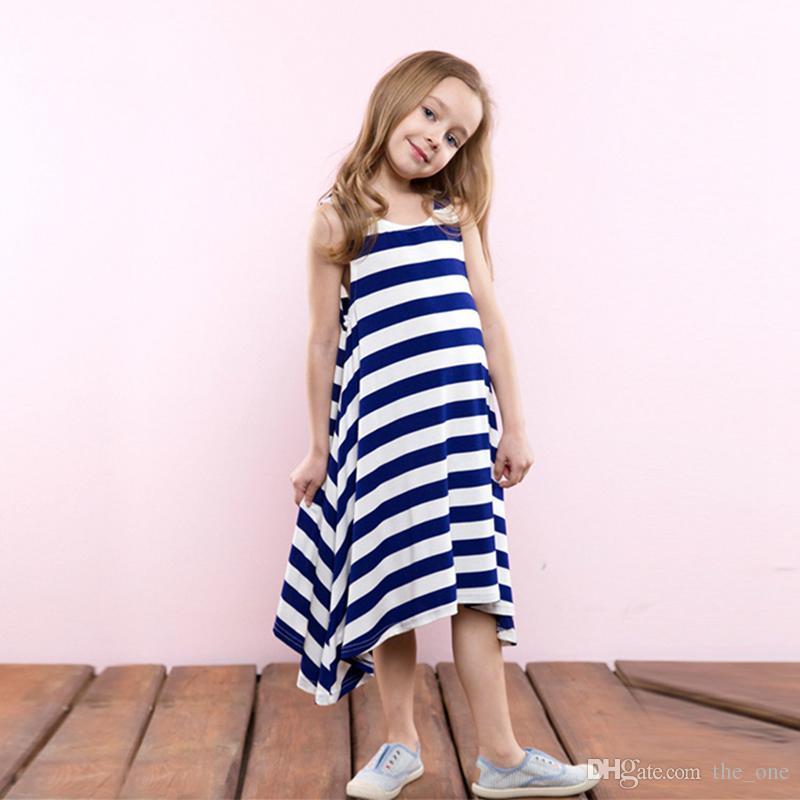 Çocuklar Kızlar Yaz Tek Parça şerit plaj elbise Çizgili uzun elbiseler kızlar Sundress Çocuk Giysileri kolsuz
