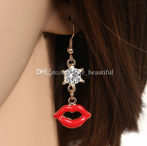 Hot Style National style fashion earrings heart lipstick and lips delicate diamond earrings fashion classic delicate elegance