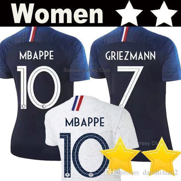 Compre 2 Stars GRIEZMANN MBAPPE POGBA Mulheres Camisa De Futebol 2018 Copa  Do Mundo AAA Tailândia DEMBELE MARTIAL Menina Camisa De Futebol De  Danshixian2 eae0eff3e491e