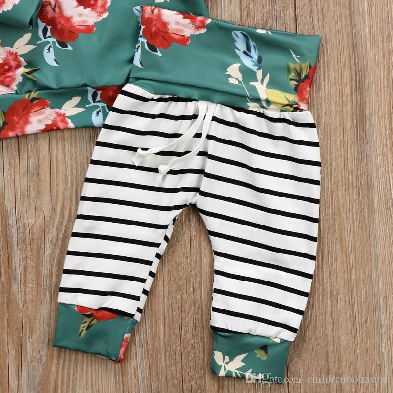 2018 Spring Autumn Baby Clothing Baby Girl Clothes Set Patchwork Striped Floral Hoodies Tops with Pants Leggings Suits Kids Outfits Set