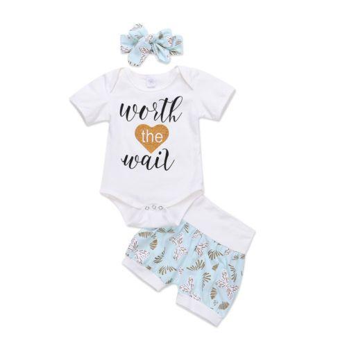 ca78e27d4e904 Newborn Kids Baby Girl Worth The Wait T-shirt Top+Floral Pants + ...