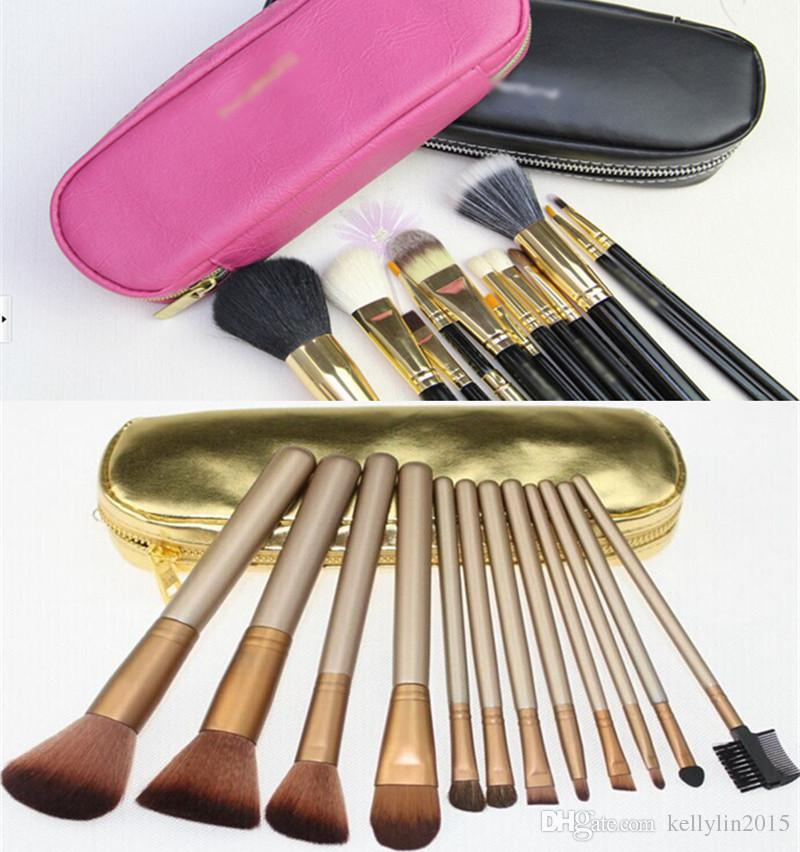 12pcs Makeup Brush Set with Zipper Bag Professional Cosmetic Tools Black Gold Face Foundation Powder Best Make Up Brushes Sets Kit