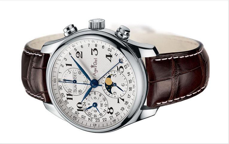 fcaca3e278f Compre Marca De Luxo Novos Homens Relógio De Aço Inoxidável De Safira De  Vidro De Volta Automático De Couro Marrom Mecânico Data Calendário Fase Da  Lua AAA ...