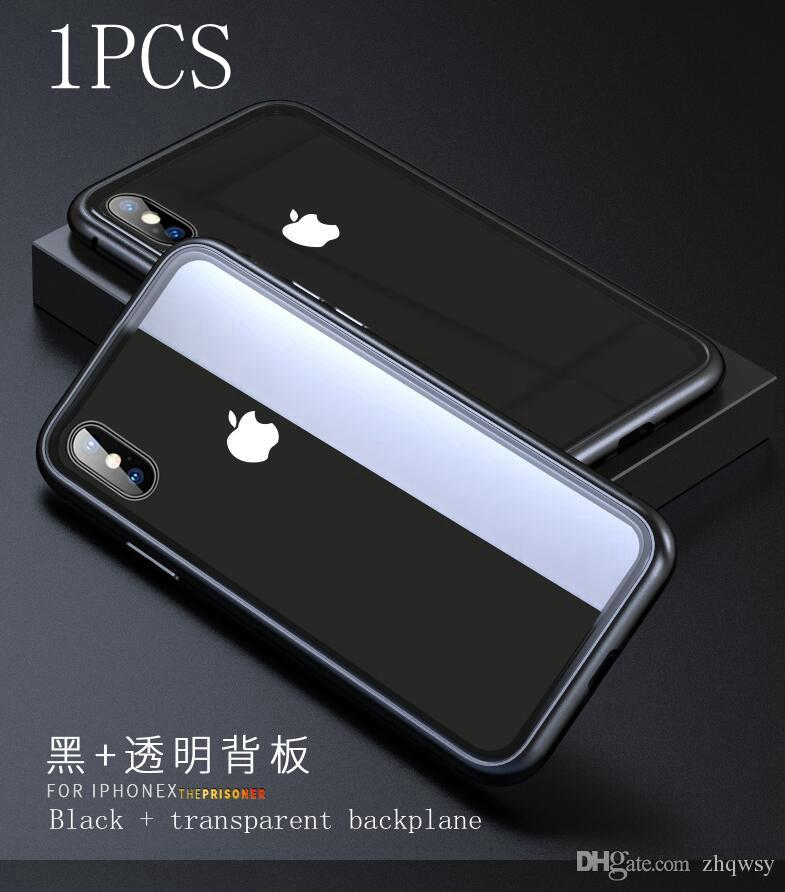 premium selection 95cea b8ef3 Transparent Back iPhone X Case, Magneto Magnetic Adsorptive Metal Aluminum  Frame Bumper Clear Tempered Glass Back Slim Support Wireless Cha