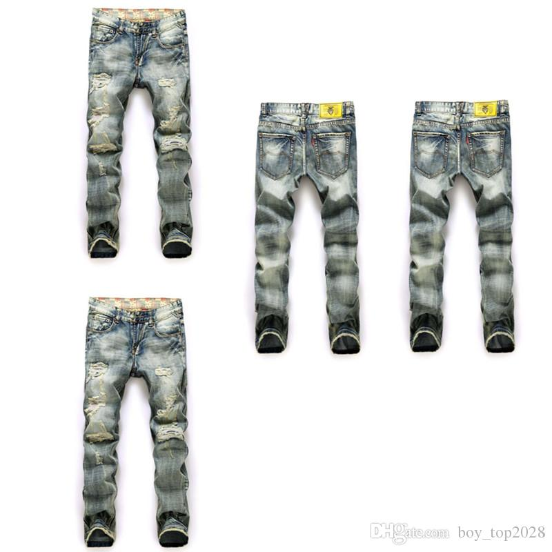 Cross-border specifically for the 2018 foreign trade new burst men's pants damaged printing Korean trend men's pants in the waist jeans