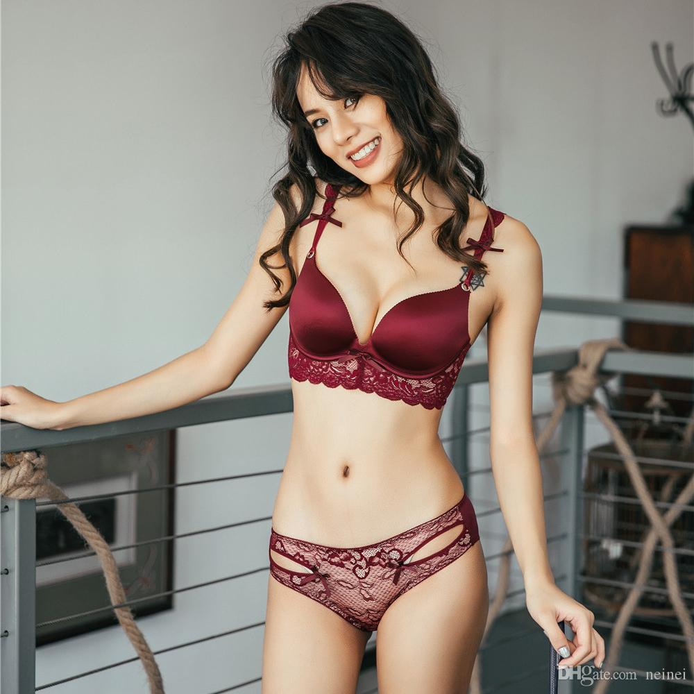 1a6daa819 2019 One Piece Push Up Lace Female Sexy Underwear Sets Side Gather Wireless  Sexy Bralette Adjustable Bra And Briefs Fashion Lingerie From Neinei