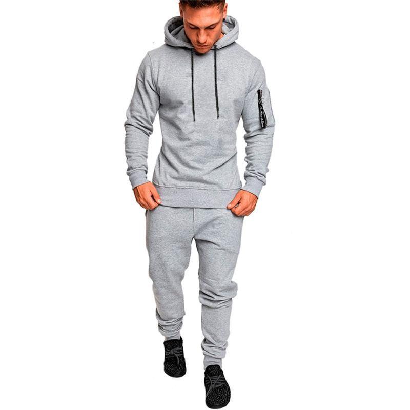 d6e8c48f6b5d9 Acheter Automne Sport Vêtements Hommes Running Jogging Costumes Homme  Fitness Body Building Sportwear Sweats À Capuche Pantalon Survêtement Set  De $42.57 Du ...