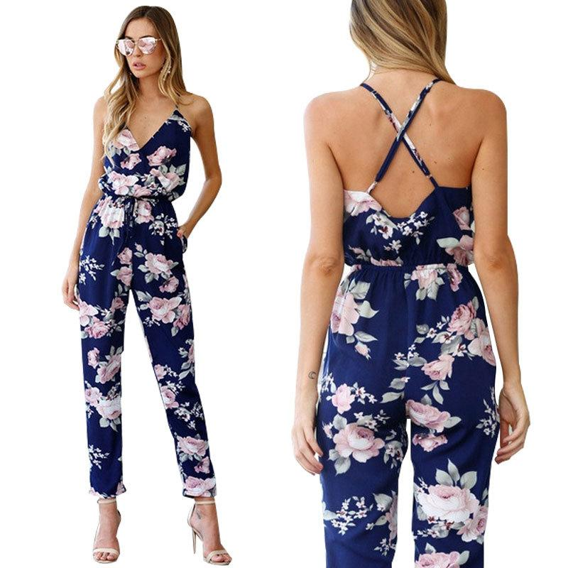 1cc7f8adeabd 2019 2018 BKLD Rompers Womens Jumpsuit Summer Ladies Blue Sexy Deep V Neck  Lace Up Sleeveless Floral Back Cross Casual Jumpsuit Femme Y1891806 From ...