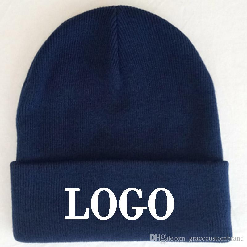 91fe0020f1c98 Custom Navy Beanies Adult Elastic Winter Warm Cap Embrodiery Logo Skullies    Acrylic Beanies Normal Big Size Apparel Hats Hats Bucket Hats From ...