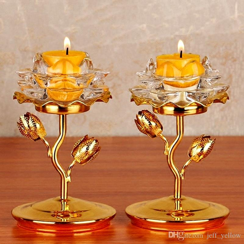 Buddha toys 2 Buddhism Supplies Buddha crystal Butter lamp holder Lotus candlestick Light stand Home Buddhist temple Light toy