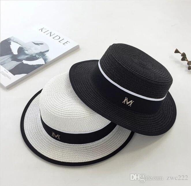 European And American Fashion Flat Top Straw Hat Summer Shade Hat Women  British Hat Small Fresh Flat Top Shade Fashion Online with  6.56 Piece on  Zwc222 s ... aca519564cc