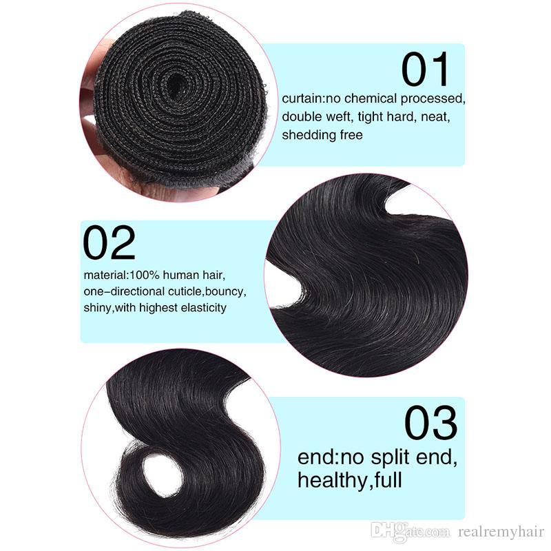 Pelo humano brasileño 3 Paquetes con 360 de encaje frontal lleno con armadura del cuerpo del bebé barato del pelo Remy de la onda del pelo con el encierro frontal del cordón