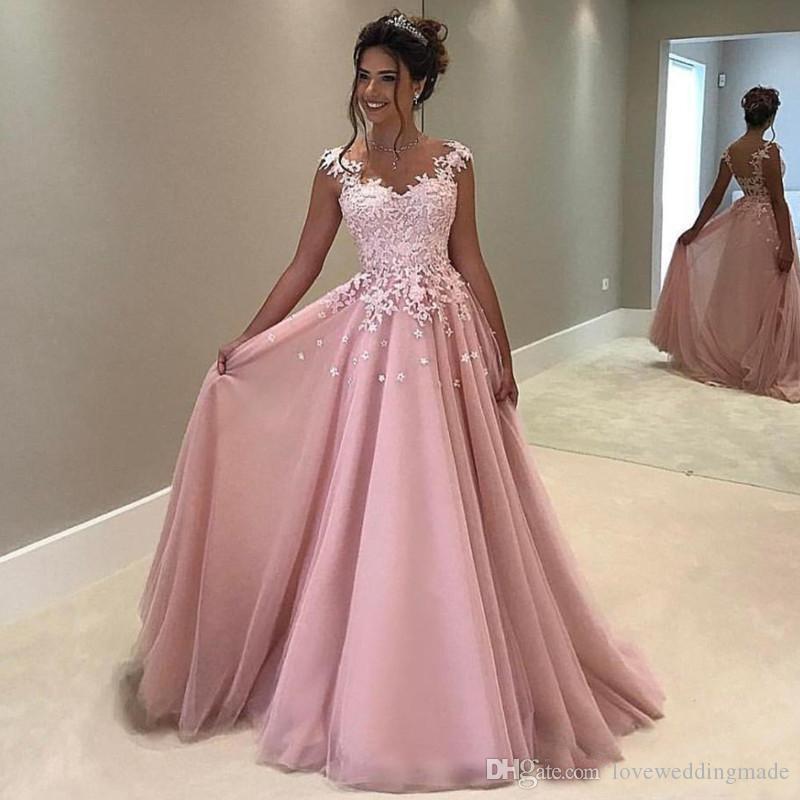 Blush Applique Lace Sheer Neck Prom Kleider A Line Cap Sleeves bodenlangen arabischen benutzerdefinierte formale Abendkleid Robe 2019