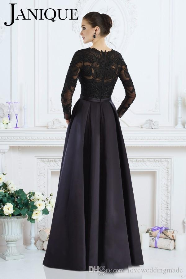 2019 Janique Black Long Sleeves Formal Gowns A-Line Jewel Lace Beaded Mother of The Bride Dresses Custom Made Women Evening Wear