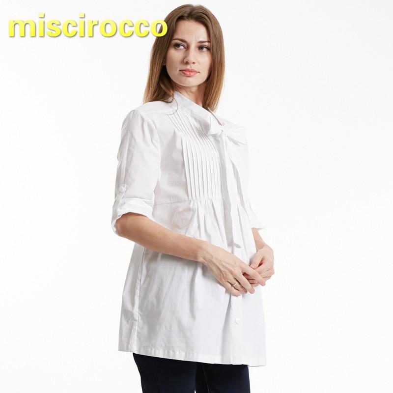 a21ceeff1 Compre Camisa De Mujer Embarazada Formal Aumentar Blusa Ropa De Maternidad  Trabajo De Oficina Salir A  29.7 Del Yohkoh