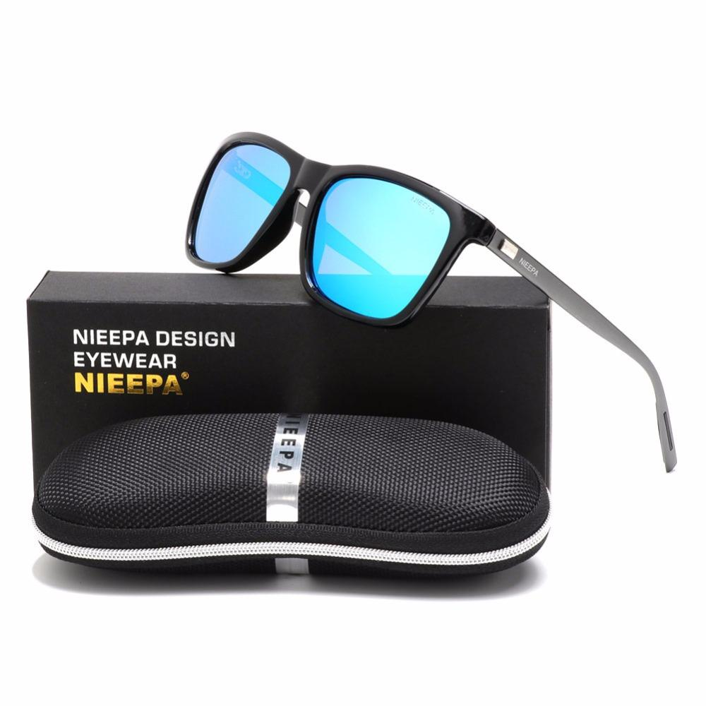 3928a78bb5 NIEEPA Classic Square Polarized Sunglasses Aluminum Magnesium Temples Sun Glasses  Men Women Brand Designer Retro Driving Eyewear Mens Eyeglasses Sport ...