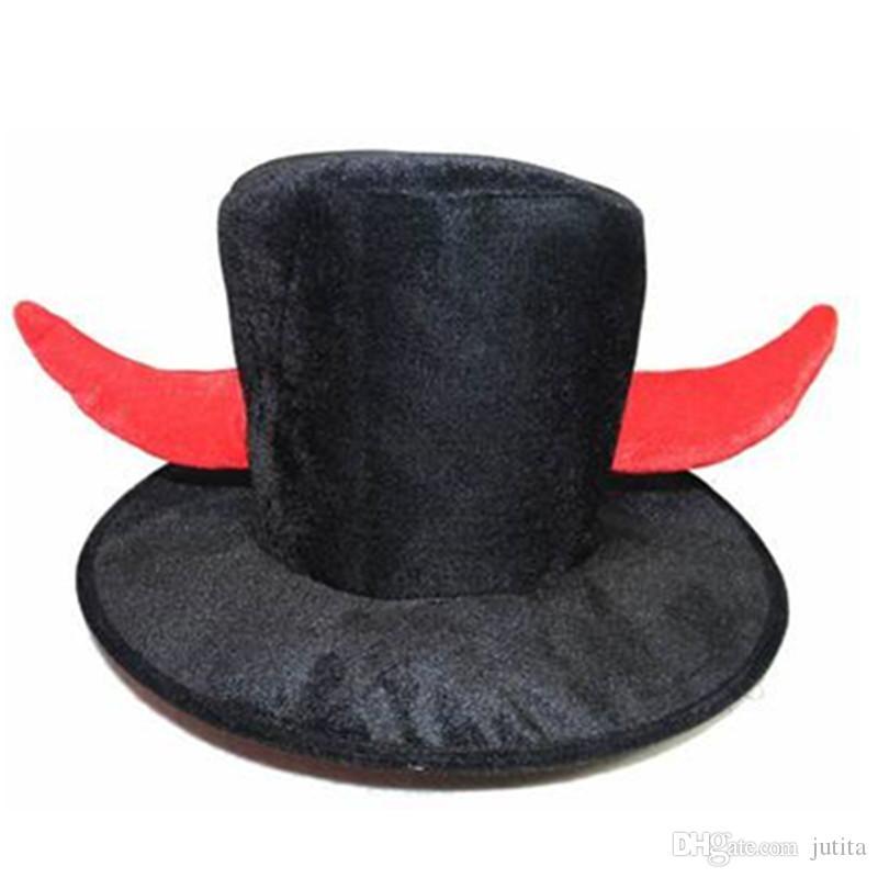 Compre Adultos Hombres Sombrero De Copa Negro Diablo Cuerno Sombreros  Atrezzo De Rendimiento Cosplay Traje Accesorio Parte Sombreros Vestido De  Fiesta ... d487c2b2046