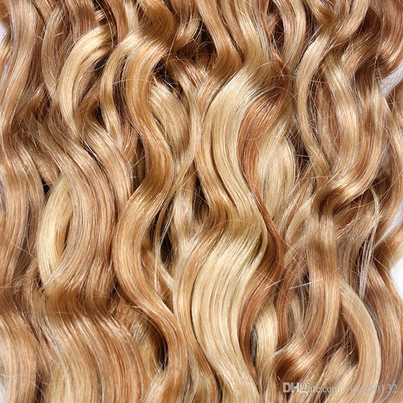 A onda de água peruana empacota o cabelo humano empacota nenhumas extensões do cabelo humano de Remy 1 piano 27/613 do PC