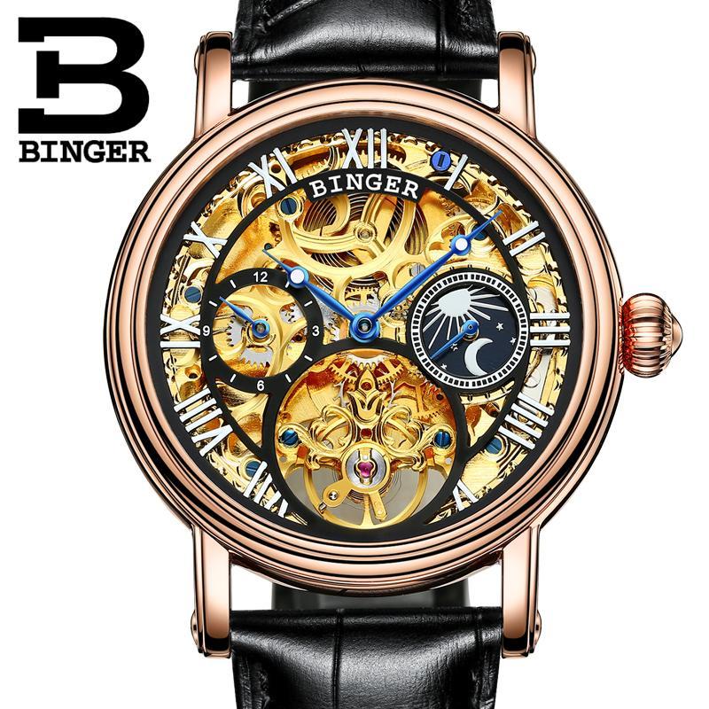 74c90fee2c2 Compre Suíça Binger Relógios Homens Marca De Luxo Turbilhão Relogio  Masculino À Prova D  água Relógios De Pulso Mecânicos B 1171 De A799956998