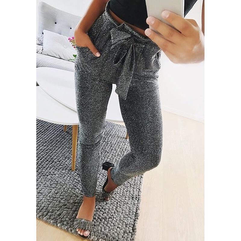 3a6e62931f4bd Acheter Femmes Longs Pantalons Casual Noeud Papillon Pantalons De  Survêtement New 2019 Automne Mode Femme Pantalon Long Dames Joggeurs  Vêtements WS3970Y De ...