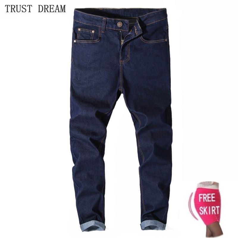 e922f53d8 Compre Pomotion Presente Dos Homens Slim Azul Jeans Stretch Jeans Sólida  Moda Calças Homem Calça Jeans Casual Fit All Season Feminino Trouse De  Flowter