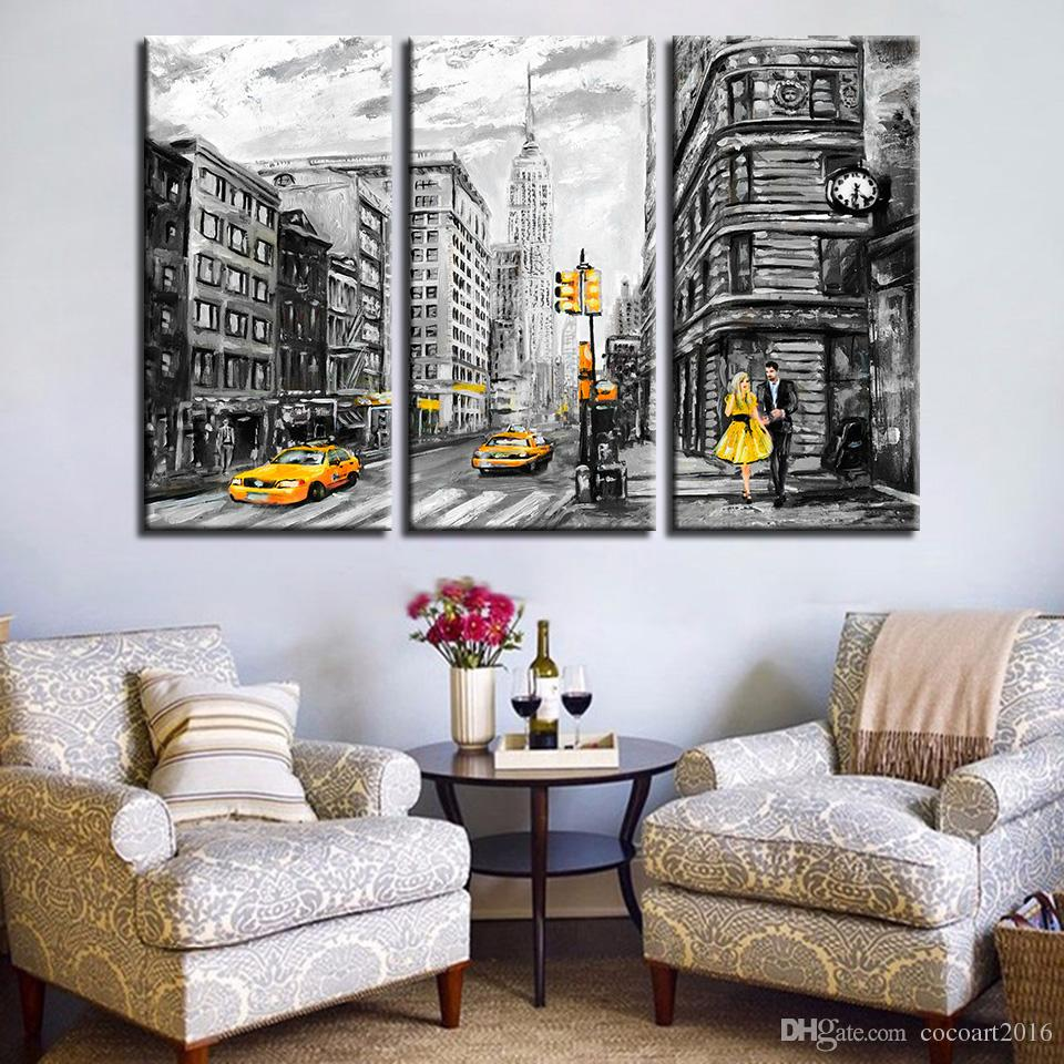 2019 canvas prints poster wall art abstract pictures new york city street yellow taxi car paintings home decor modular frame from cocoart2016