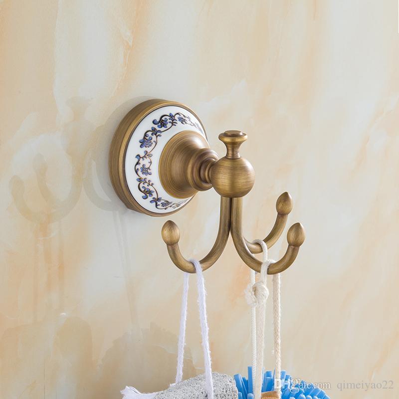 Retro dreifach haken bad zubehör europäischen vintage keramik basis robe  haken antike kleidung kleiderhaken badezimmer produkte