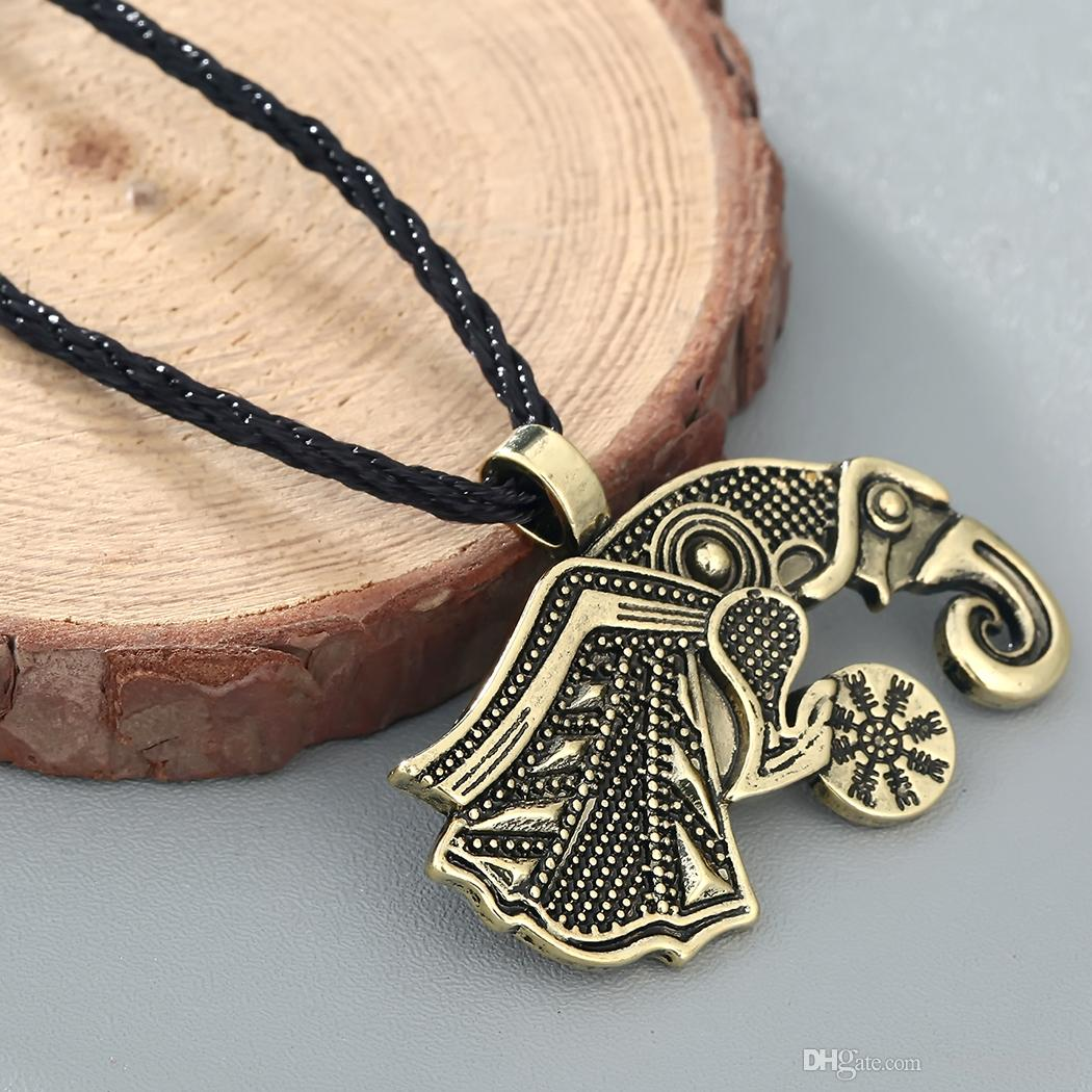 Valknut viking Retro Raven Of Odin 's Symbol Viking Warriors Pendant Necklace For Mens Antique Silver Bronze Best Gifts