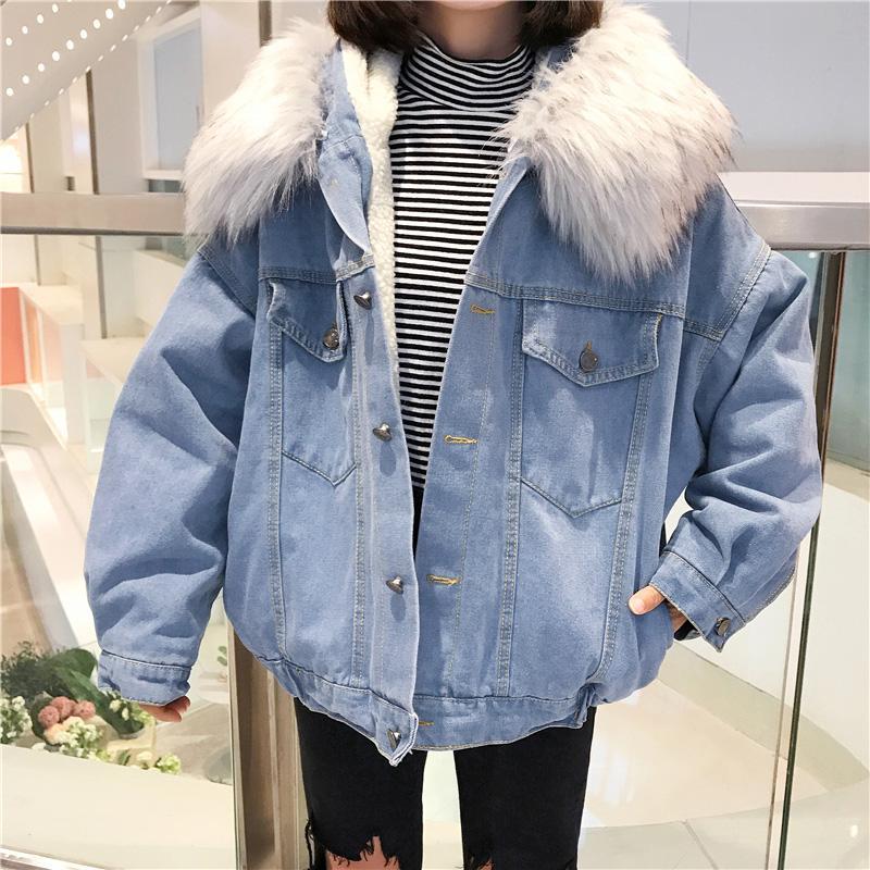 Korean Winter Women Faux Fur Collar Fleece Hooded Jeans Jacket Women