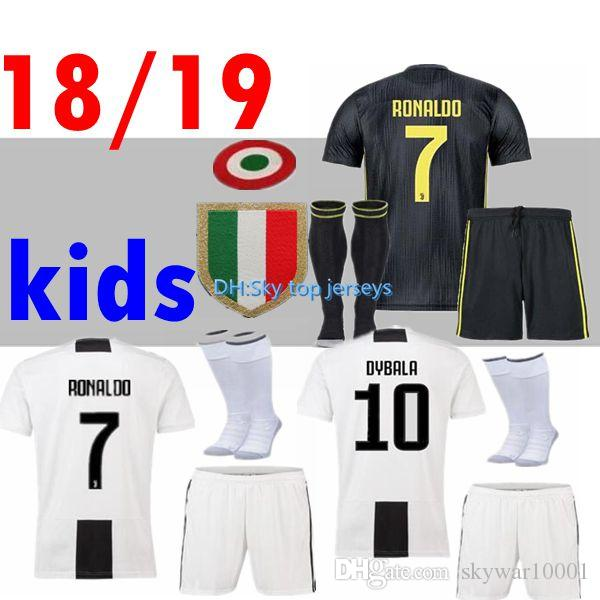 2019 18 19 Ronaldo Juventus Kids Soccer Jersey Home Kit 2018 2019 MANDZUKIC  MATUIDI HIGUAIN DYBALA D.COSTA Boys Cild Third Away Football Shirts From ... 6bf53f42f