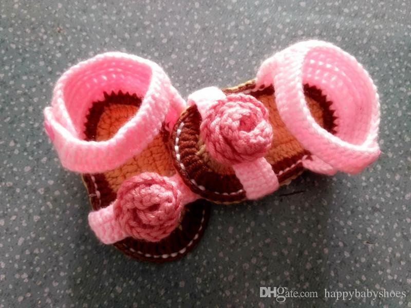 Großhandel Häkeln Babyschuhe Neue Design Blume Häkeln Baby Mädchen