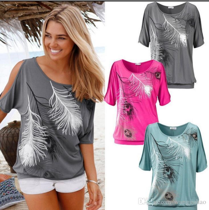 5214d990ac6cf 2018 New Slit Sleeve Cold Shoulder Feather Print Women Casual Summer T  Shirt Girl Tee Tshirt Loose Top T Shirt Mens Funny T Shirts Buy Shirts From  ...