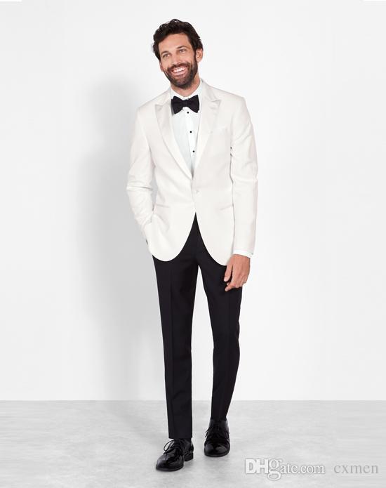 Formal White Wedding Suits for Men Peaked Lapel Slim Fit Groom Tuxedos Suits Jacket Pants Best Men Blazer Party