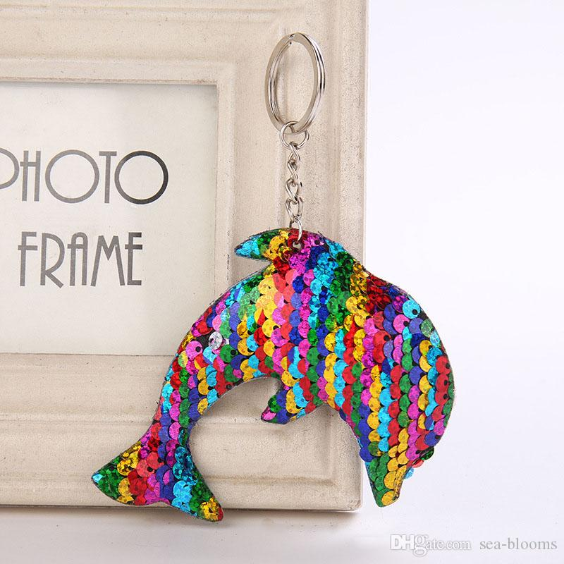 9327dbbe6d Marine Life Dolphin Keychain Fashion Simple Sequins Animal Key Chain  Keyrings For Women Car Bag Pendant Accessorices 4 Styles H869Q Photo  Keyrings Keycord ...