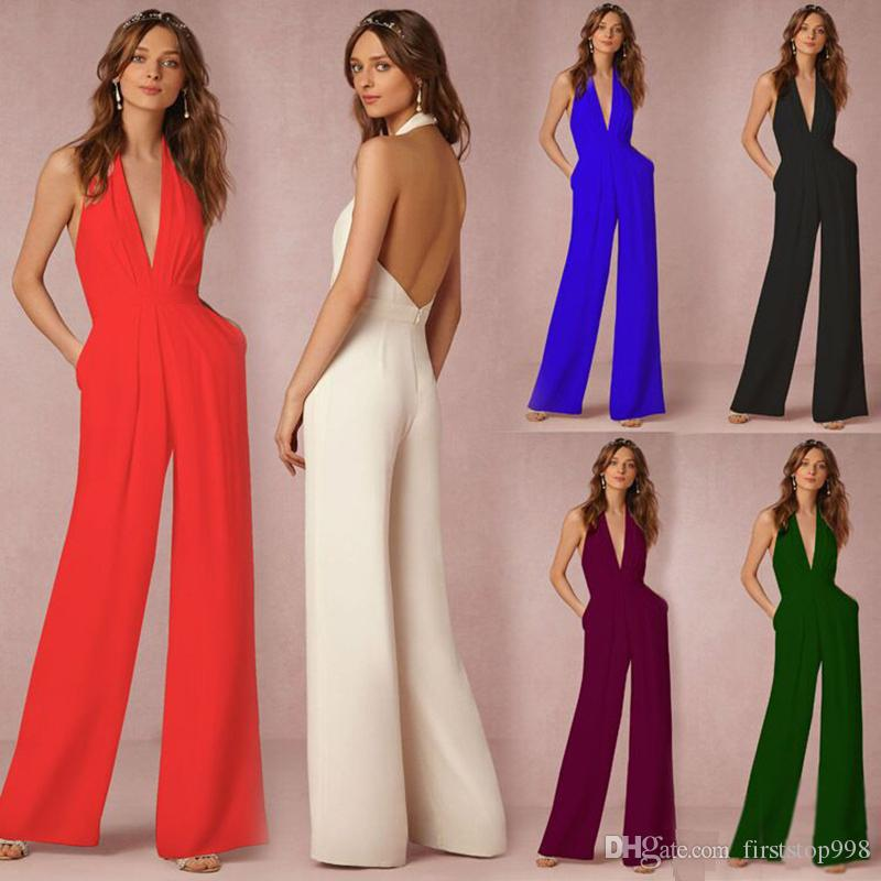 c5afb5e8800 Women Jumpsuits Prom Dress Wedding Gust Dresses Chiffon V Neck Tops And Long  Pants Rompers For Women Women Jumpsuits Online with  19.65 Piece on ...