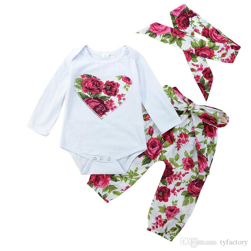 0ca4fc8b2901 2019 Baby Girls Flower Clothes Cotton Boutique Clothing Toddler ...