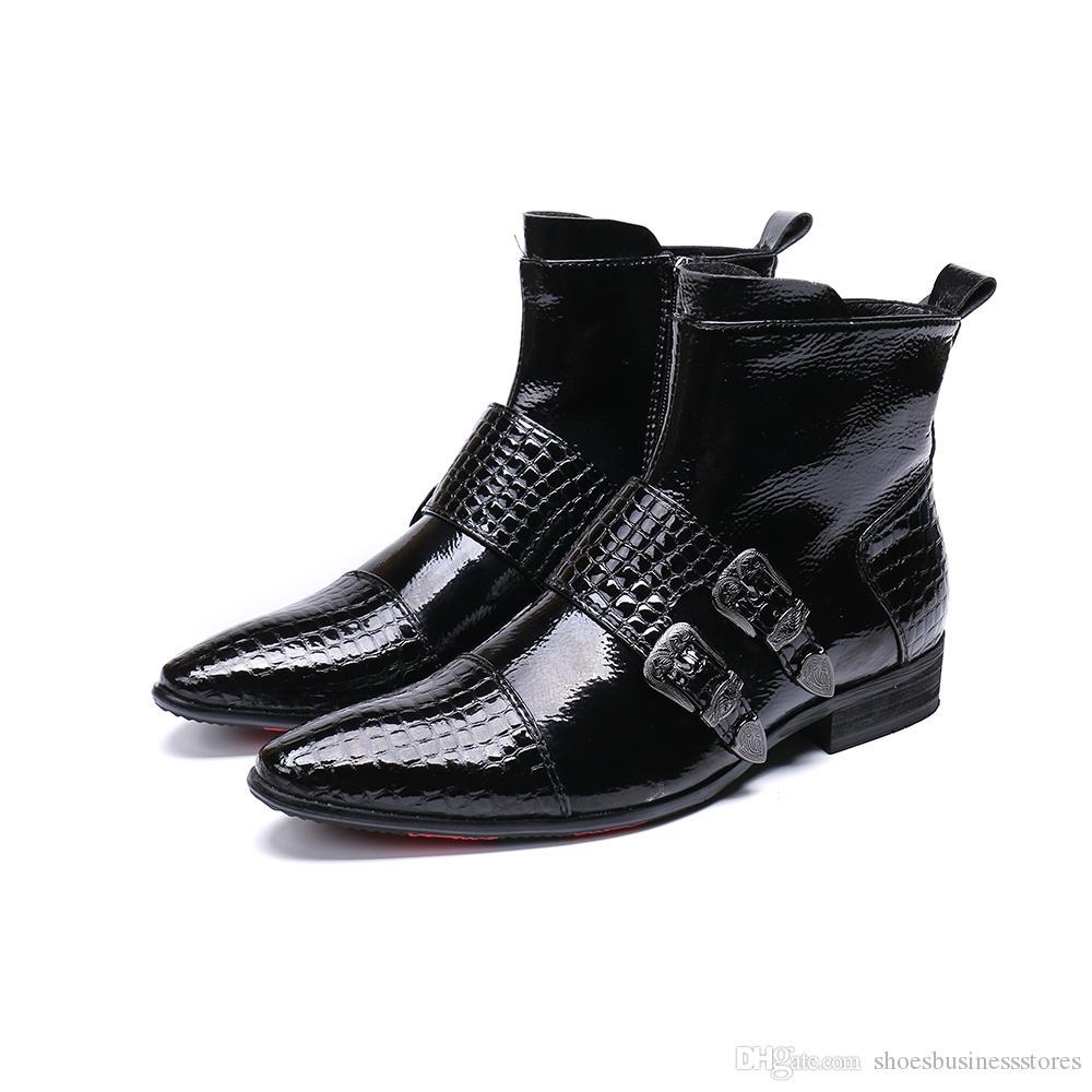 d6ab40ab052 Acheter Hommes Chaussures Bottes Western Cowboy Bottines Hommes Boucles  Pointues En Cuir Noir Botas Hombre Piste De Botte De  128.65 Du  Shoesbusinessstores ...