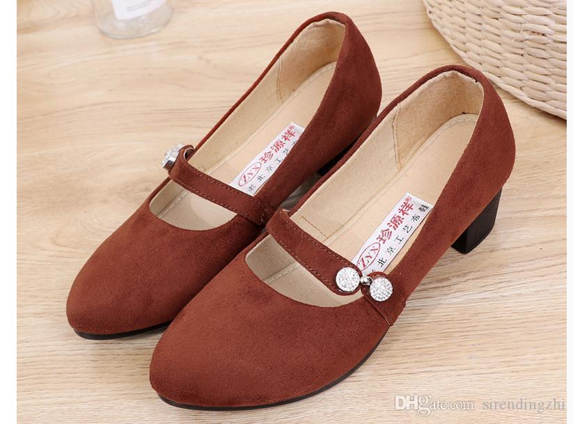Envío gratis 2018 primavera nuevo estilo Medio tacón tacón grueso zapatos de tela de mujer