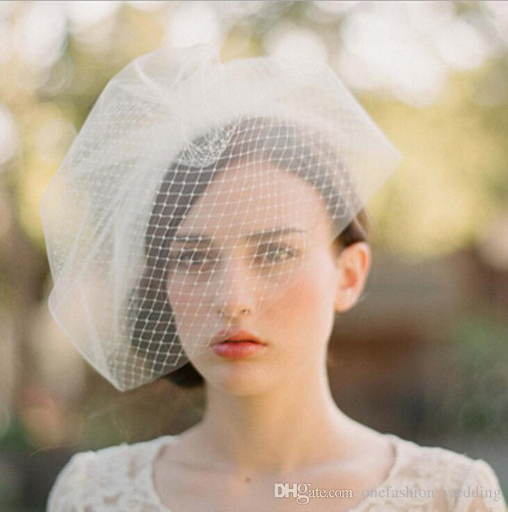 High Quality Elegant Ivory Birdcage Net Wedding Hats Bridal Fascinator Face Veils Feather Flower with Hairpin Bridal Hat