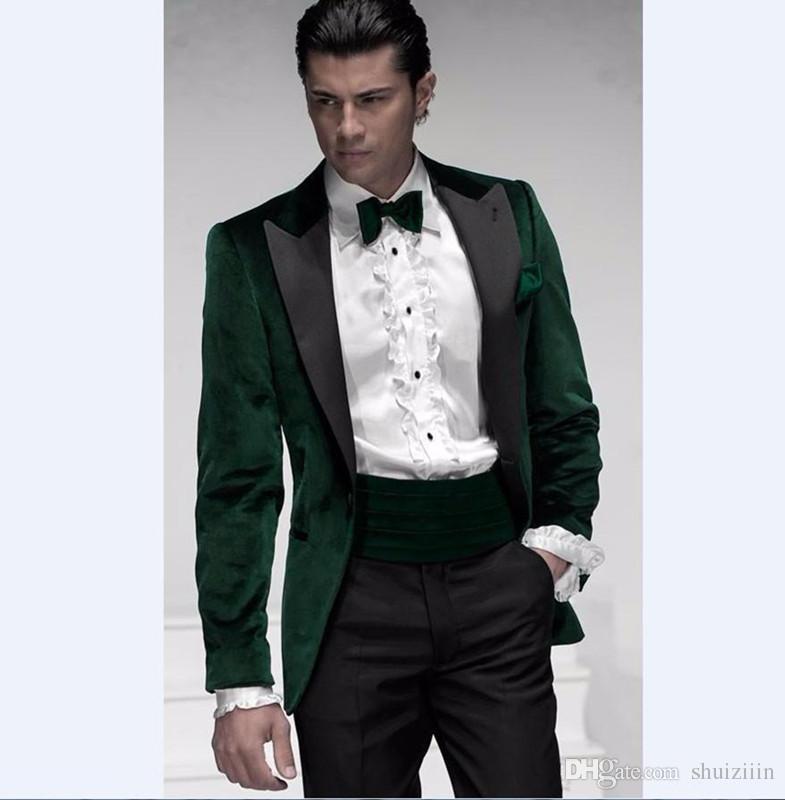 d17c5fddfcef New Dark Green Velvet Groom Tuxedos Groomsmen Suit Peak Lapel Best Man Prom  Suit Mens Wedding Suits (Jacket+Pants+Tie)