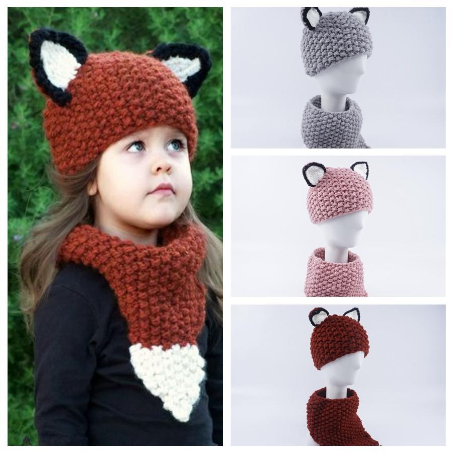 3eaf685c659 2019 Kids Fox Knitting Caps Scarf Set Baby Knitted Beanies Cartoon Winter  Wool Cap INS Children Knitted Neckerchief Hat GGA1024 From B2b baby