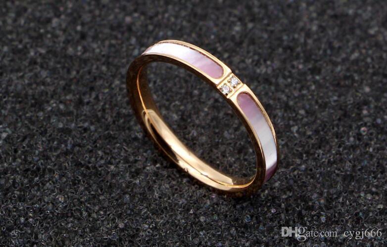 Новый микро-инкрустация два алмаза Caibei порошок титана стали покрытием розовое золото кольцо хвост кольцо мода указательный палец кольцо женский