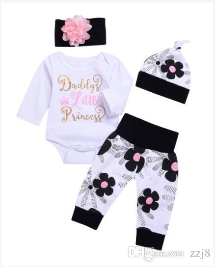 f5e5e3935956 2019 Baby Girls Flower Letter Printed Clothing Sets Long Sleeve Romper  Trousers Hat And Headband Suit For Toddlers Girls 0 24 Months From Zzj8