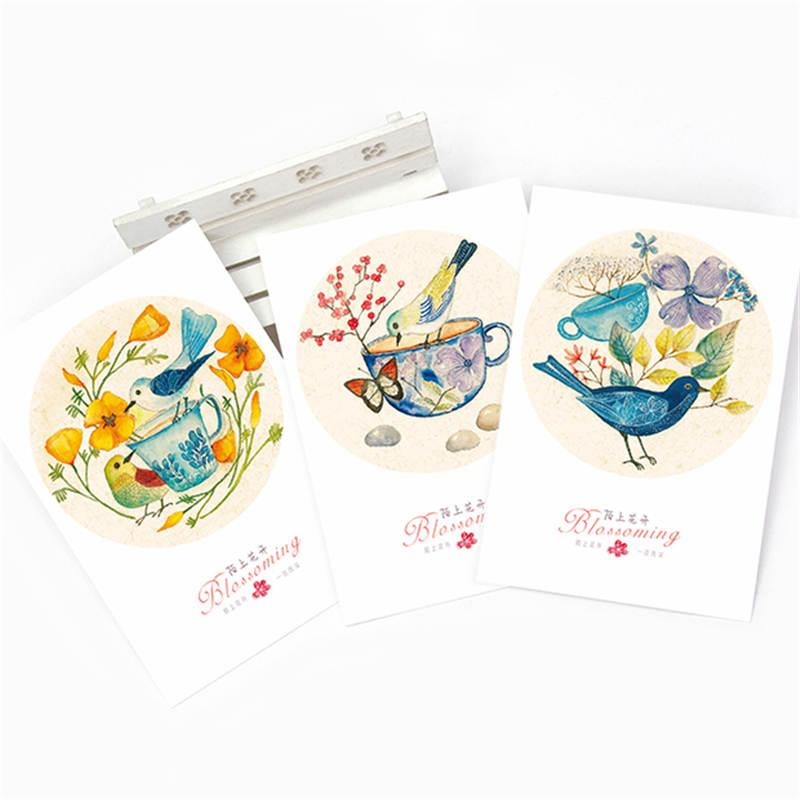 Doreenbeads Hand Painted Cards Bird Design Watercolor Postcard New