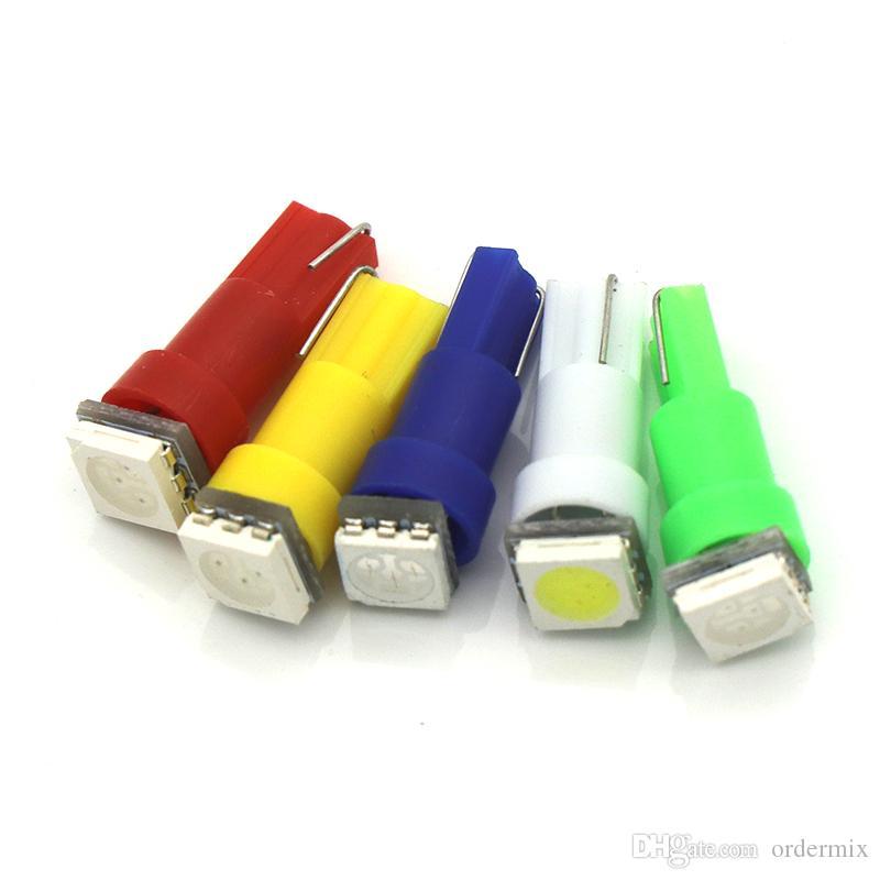 10 قطع t5 led 5050 1smd led t5 لمبة مع إسفين قاعدة لل لوحات led t5 الأبيض / الأخضر / الأزرق / الأحمر / الأصفر الجانبية مصابيح dc 12 فولت