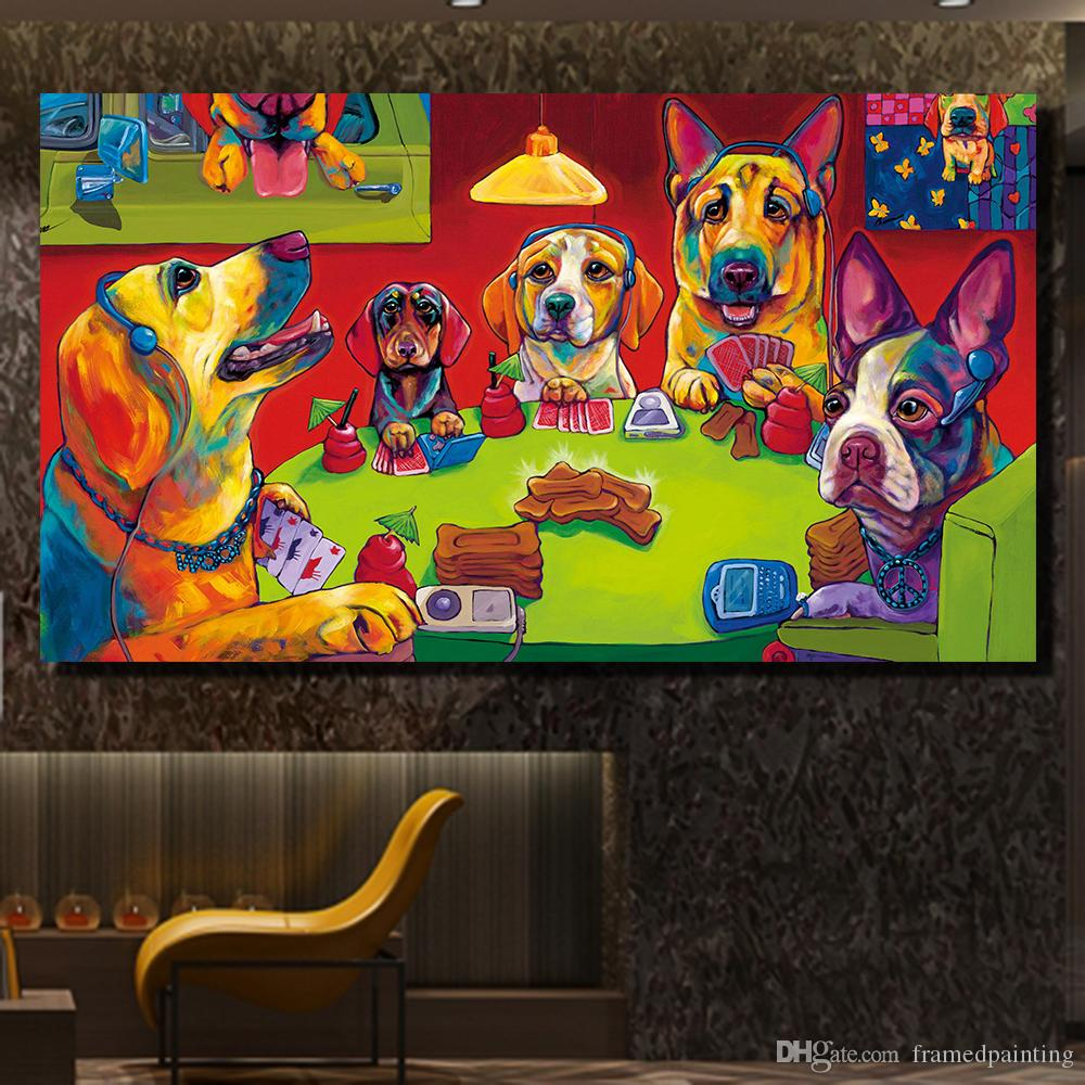 Frameless Wall Art Canvas Painting Funny Dogs Playing Poker Cartoon Oil Painting On Canvas Picture Wall Paintings No Framed