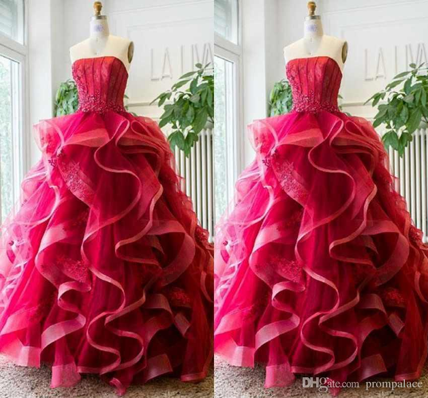 8997a607dfb Ruffled Organza Skirt Quinceanera Dresses Sexy Strapless Sleeveless Lace Up  Back Floor Length Prom Dresses Puffy Ball Gown Quinceanera Dresses Under  200 ...