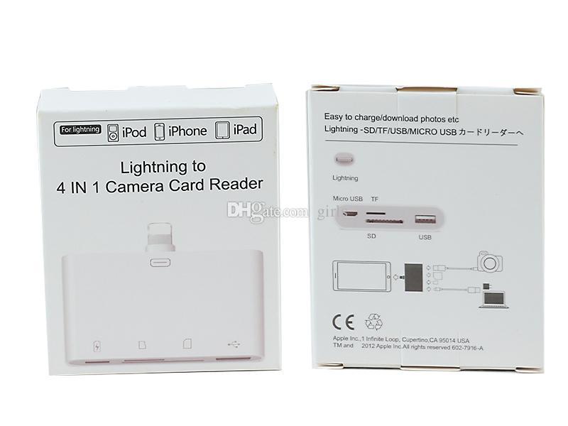 Allumer à 4 en 1 adaptateur de lecteur de carte caméra micro usb tf sd port usb pour ordinateur iphone ipod convertisseur de carte mémoire