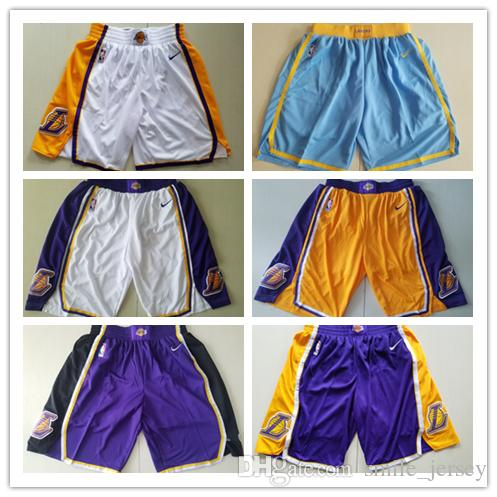 New Mens Los Angeles Lakers Basketball Shorts Purple Yellow White ... c69a9831a0